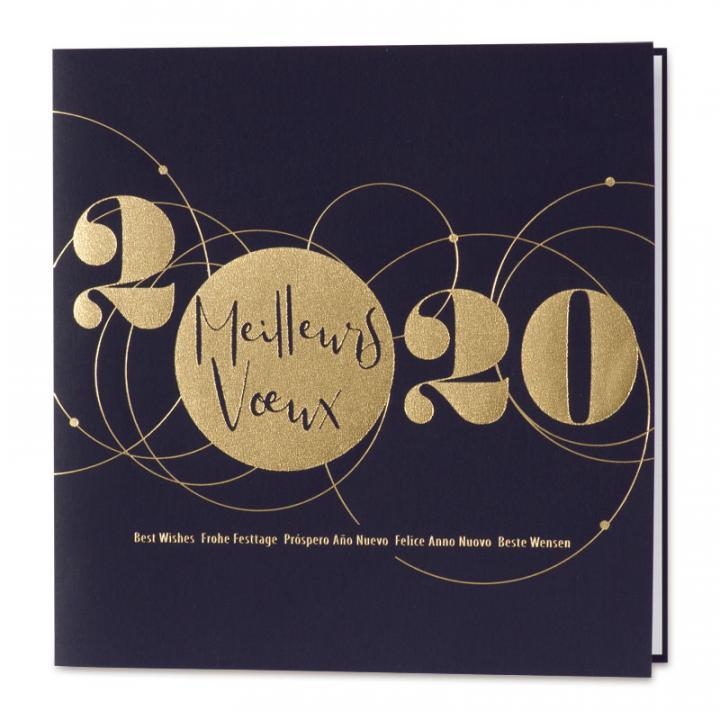 carte de voeux gratuites 2020 Carte de vœux bleue et 2020 doré   Cartes pour la vie