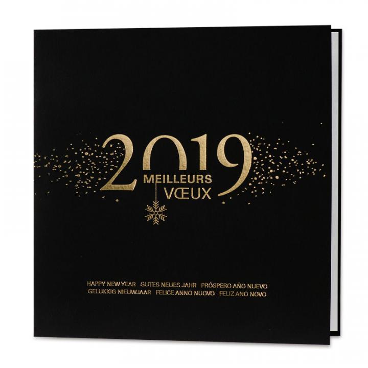 0ec38192b4ed99 Carte de voeux entreprise noire et or 2019 | Cartes pour la vie