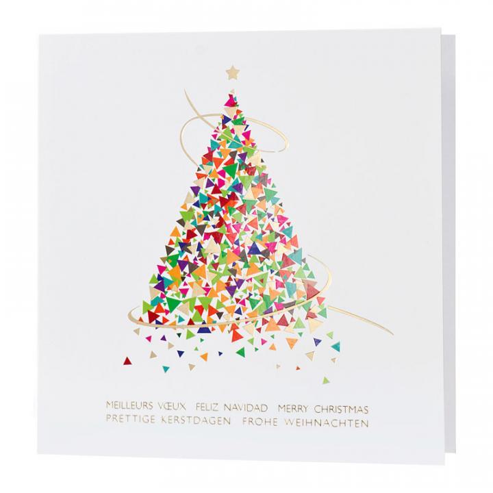 Carte de voeux professionnelle avec sapin de Noël coloré   Cartes