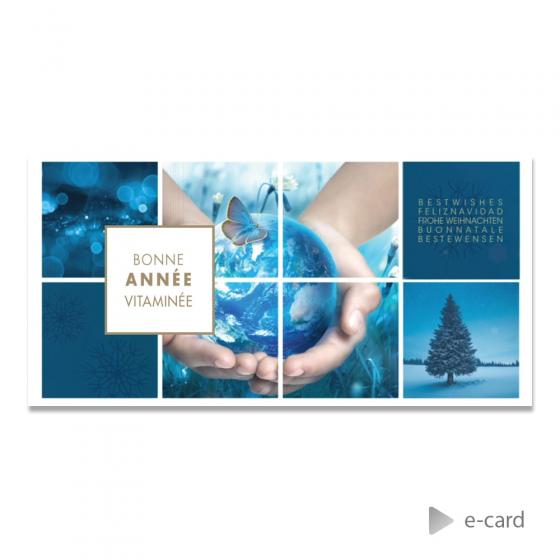 E-card fond bleu et photos
